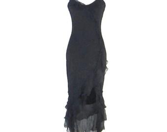 GATSBY COCKTAIL DRESS, Black evening dress, Long evening dress, asymmetrical dress, Gatsby dress, vintage evening dress, long retro dress