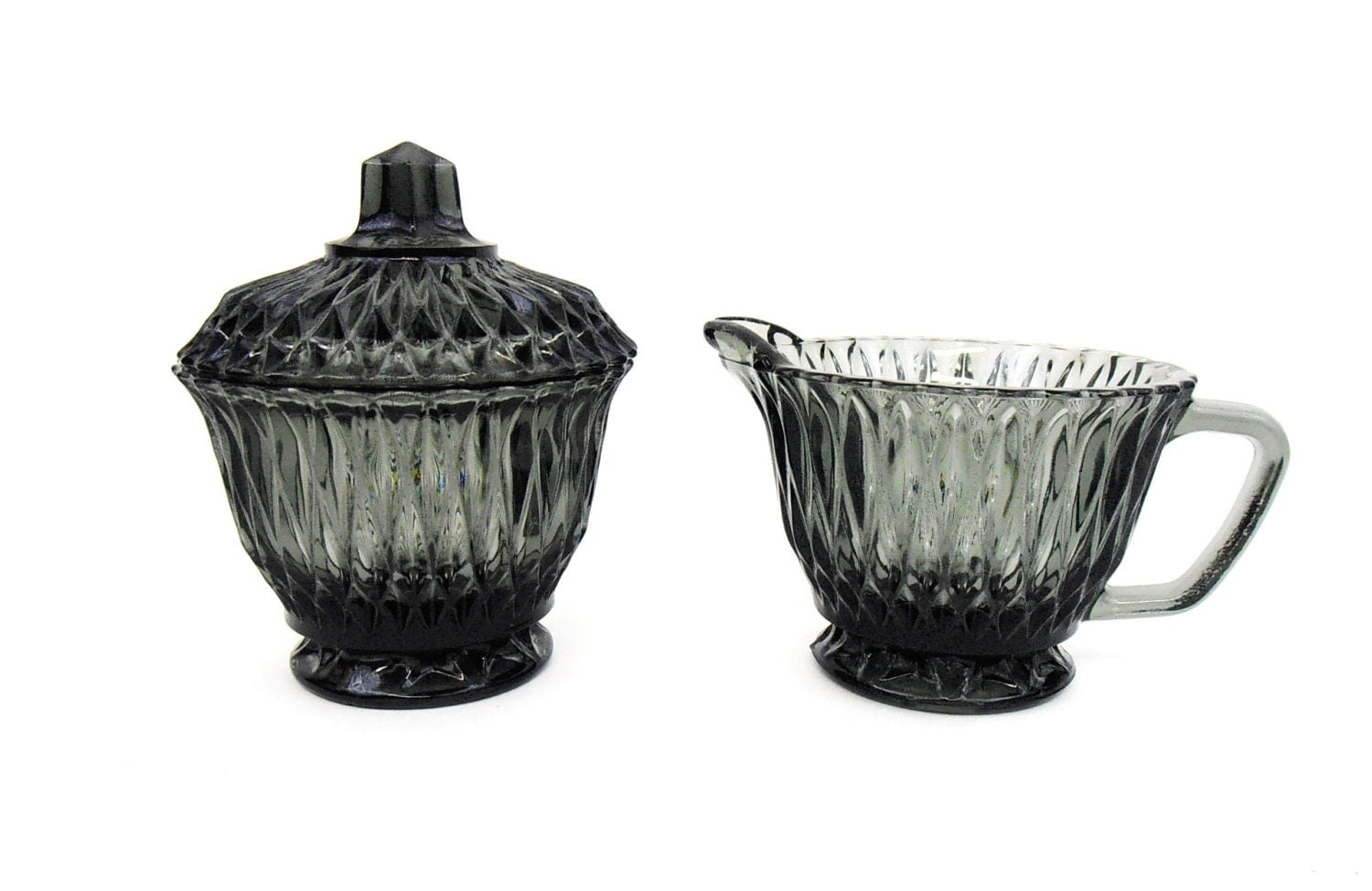 Glass sugar bowl and creamer libbey