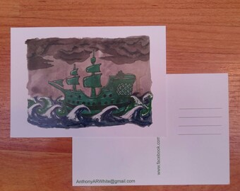 Pirate ship postcard - ink/acrylic