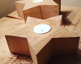 Stella portacandela in legno grezzo