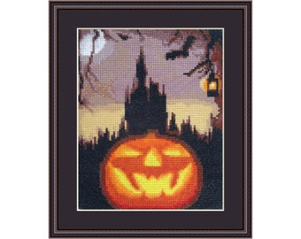 Cross stitch kit Halloween Night, halloween, pumpkin, castle, bat