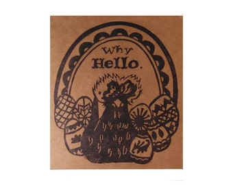 Fancy chicken card from hand carved stamp