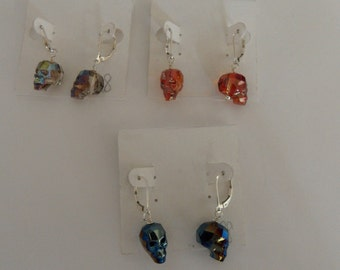 Swarovski Crystal Lasered Skull Earrings, sterling silver lever backs