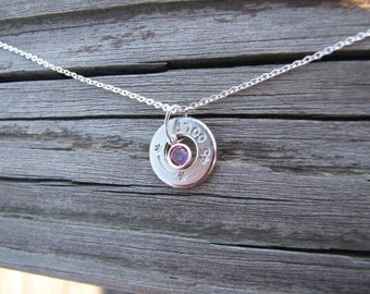 Silver Bullet Birthstone Necklace- Bullet Jewelry- Colt 45 necklace- Crystal Necklace- Gift for Her- Ammo Charm Necklace- Choker- Trendy