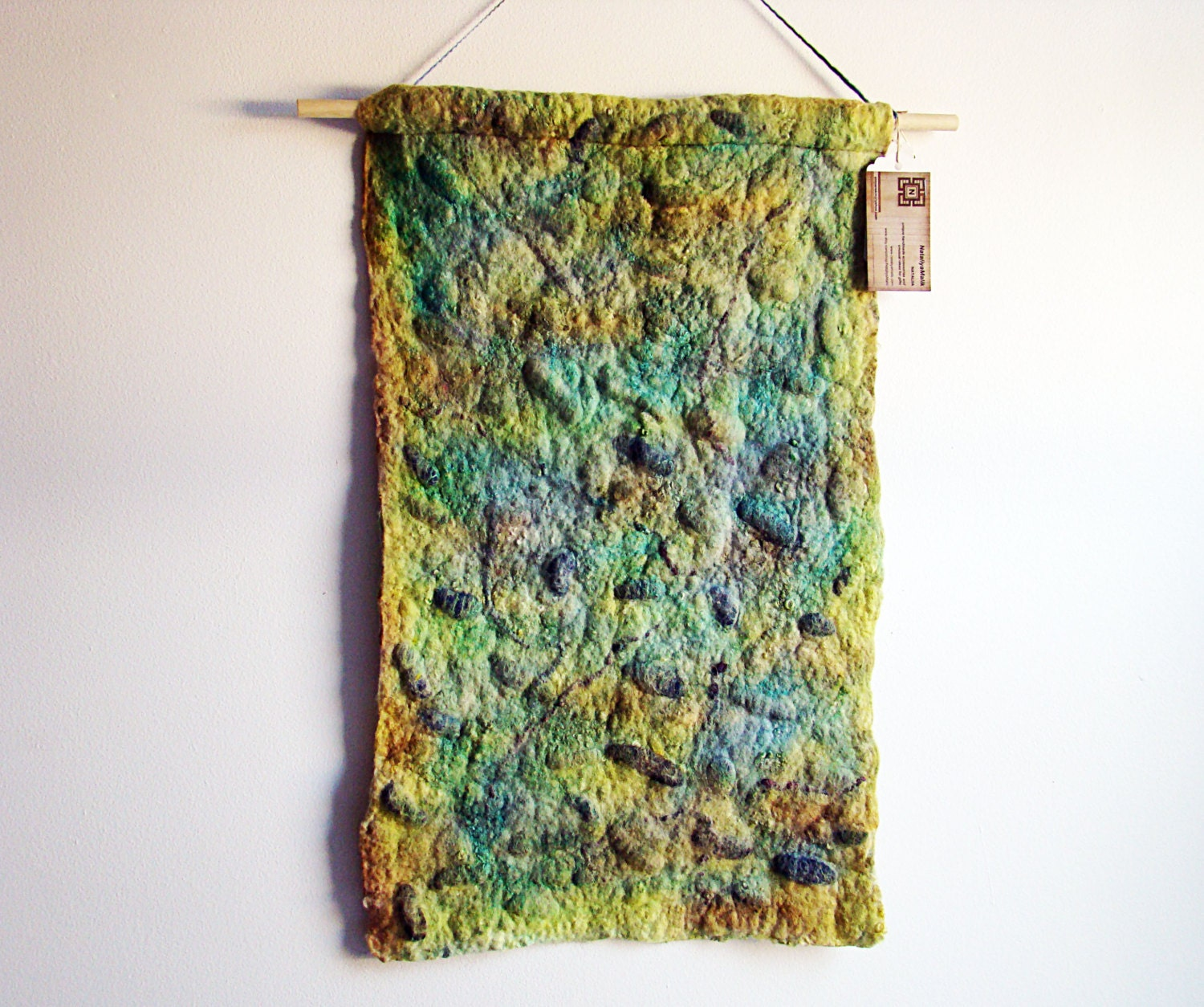 Wall decor forest green wall art felted wool wall - Wall decor for green walls ...
