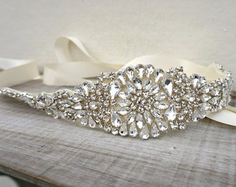 Bridal belt, bridal sash, great gatsby, vintage bridal sash, sash belt, rhinestone sash, crystal sash, wedding dress belt, dress sash, uk