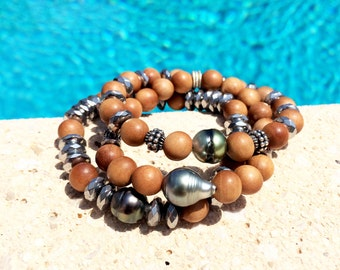 Tahitian Pearls, woman bracelets hippie chic style, stretch bracelets, mala beads