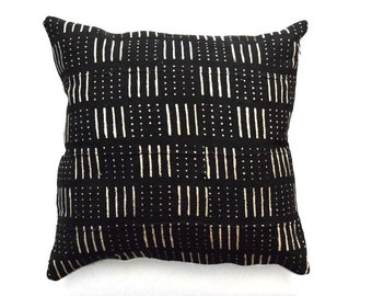 """African Mudcloth Pillow Cover, Tribal Pillow Cover for 20"""" x 20"""" Pillow Inserts"""