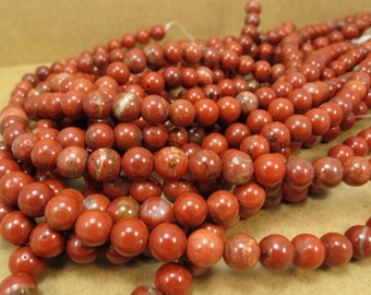 Red Jasper Beads, 8mm Red Gemstones, Natural Jasper 8mm Round, 16 inch Strand, 8mm Red Beads, Beading Supplies, Item 683pm
