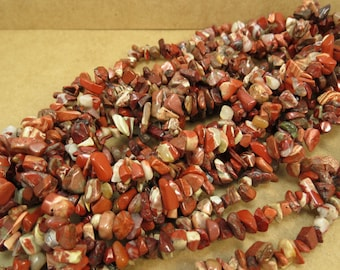 Brecciated Jasper, Natural Multi-Color Jasper Chips, 36 inch Strand, Item 698pm