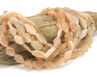 Moonstone Beads, Peach Moonstone Beads, Diamond Shaped Moonstone Beads, 14 inch Strand, Beading Supplies, Item 437A-gss