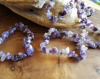 Amethyst Chip Bead Stretchy Bracelet ~ 1  Reiki infused gemstone chip bead bracelet