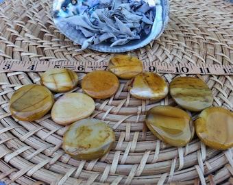 Small Golden Mookite Palm Stone, Chakra Stone, Worry Stone, Fidget Stone ~ 1 Reiki infused polished flat crystal 1.25-1.5in
