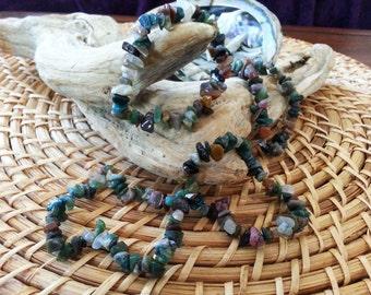 Mixed Jasper stretchy bracelet ~ One Reiki infused gemstone chip bead bracelet