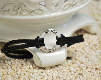 FOCUS Bracelet - Inspirational word bracelet - metal affirmation ring with inspirational saying on cord bracelt