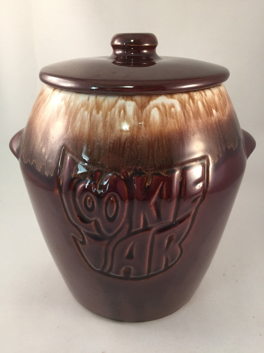 Mccoy Brown Drip Cookie Jar With Lid 7024 Made In Usa