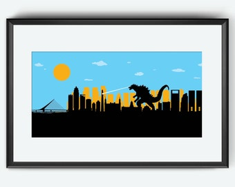 Buenos Aires Skyline print, Buenos Aires art, Buenos Aires print, Buenos Aires poster, Kaiju art print poster, Argentina art print poster