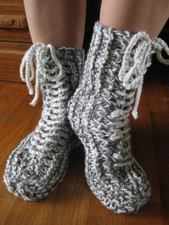 PDF: Lace up Slipper Boots Knit Pattern by Chrstn1 on Etsy