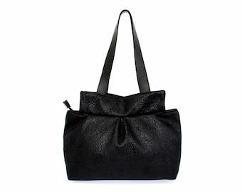 black handbag, black tote bag,  black leather straps bag, every day bag, shoulder bag, faux leather bag, handmade handbag