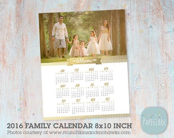 2016 Family Calendar Template  -  Printable Photoshop Template - GG013 - INSTANT Download