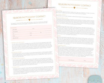 Newborn Photography Contract Template - Photoshop Download -  NG027 - INSTANT Download
