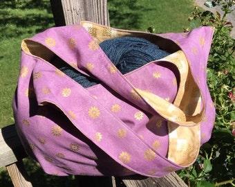 Purple & Shiny Gold Open Tote