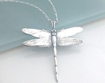 Silver Dragonfly Necklace, Sterling Silver Dragon Fly Jewelry, Graduation Gift, Large Dragon Fly Pendant, Necklaces for Women, S0031