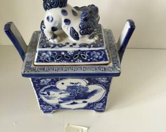 Asian Blue & White Incense Burner