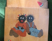 Hand Painted Black Americana Fly Swatter Holder ~ Vintage ~