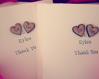 10 x Rustic, Shabby Chic Wedding Thank You cards, Personalised Thank You Cards