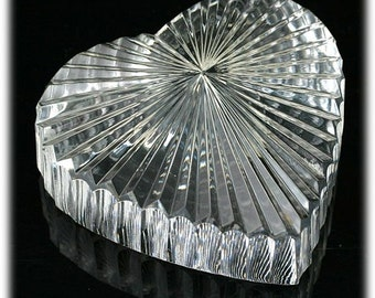 Waterford Heart Paperweight Vintage Crystal Signed VALENTINE'S DAY