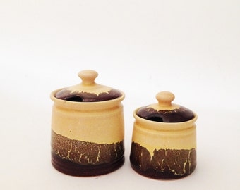 Set of Two Hand Crafted Ceramic Jars