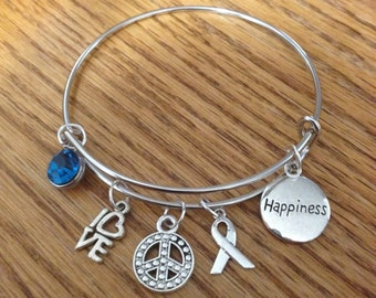 Peace, love and happiness bangle