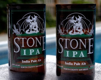 Set of Two (2) Upcycled Stone IPA Drinking Glasses