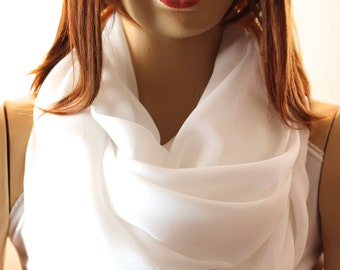 White infinity scarves shawl - white scarf - spring scarf - spring shawl -  - scarves - shawl - Scarves - Scarf - infinity scarves - wedding