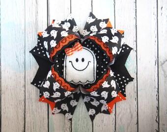 Halloween Hair Bow - Halloween Ghost Bow - Ghost Hair Bow