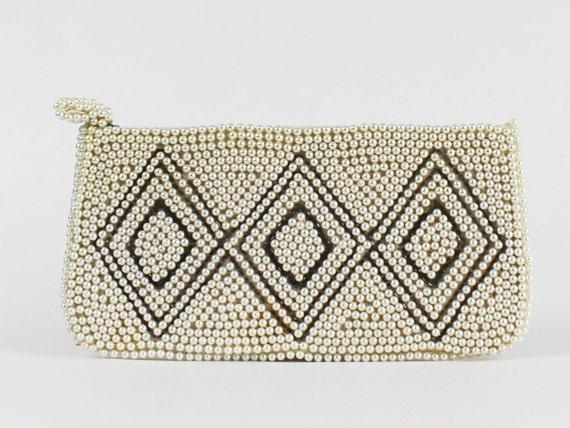 50s Beaded Clutch - Diamond Print Beaded Purse - Vintage 1950s Ivory and Silver Beaded Handbag - Beaded Evening Bag