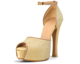 Gold Custom Made Strappy Heels, Gold Open Toe Pumps, Gold Evening Heels, Golden Bespoke Shoes, Gold Wedding Shoes