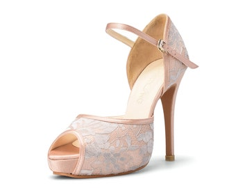 Peach Custom Made Strappy Heels, Peach Lace Pumps, Peach Open Toe Evening Heels, Peach Bespoke Shoes, Peach Wedding Shoes