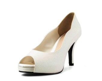 Jill Ivory Peep Toe Court Shoes, Ivory Bridal Heels,Ivory Sparkling Evening Heels, Three and a Half Inch Dress Dinner Heels