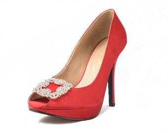 Jade Maleficent Red Satin Heels, Red Wedding Heels, Bright Red Heels, Red Bridal Heels with Brooch, Red Platform Pumps