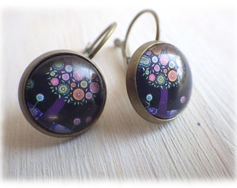 Tree at night - Earrings simple earrings in vintage style with cabochon