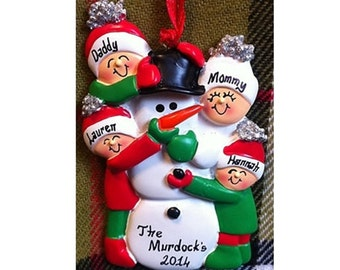 Personalized Christmas Ornament Family of 4 Building Snowman - Family Christmas Ornament - Gift for Mom, Grandma or Family Friends