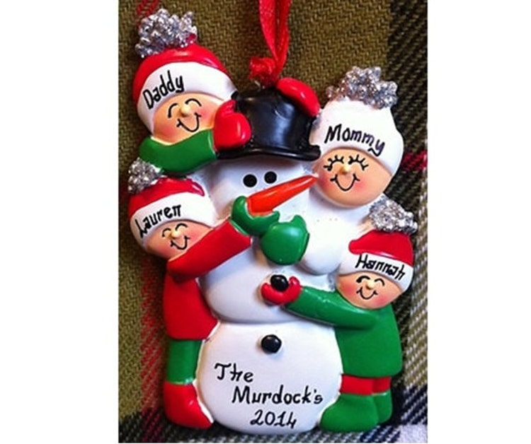 Personalized christmas ornament family of 4 by for Family of 4 christmas ornament