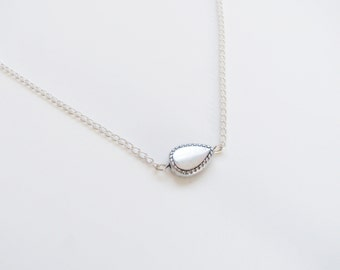Silver Paisley Necklace on chain