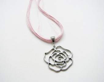 Rose Pendant on Ribbon Necklace Silver pendant