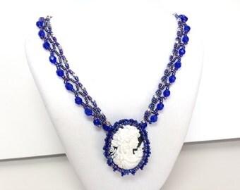 Royal blue bead woven cameo necklace