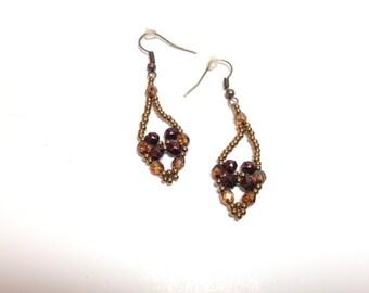Amber brown beaded dangle earrings
