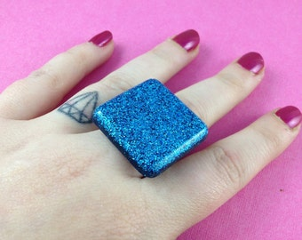Aqua turquoise holographic square resin statement ring - kitsch kawaii cute