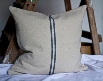 Blue Striped French Grainsack Cushion